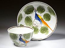 ENGLISH STAFFORDSHIRE POTTERY PEARLWARE PEAFOWL TEA BOWL AND SAUCER
