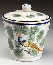 ENGLISH STAFFORDSHIRE POTTERY PEARLWARE PEAFOWL SUGAR BOWL AND COVER