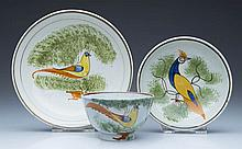 ENGLISH STAFFORDSHIRE POTTERY PEARLWARE PEAFOWL TOY TEA BOWLS AND SAUCERS, LOT OF THREE