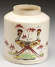 ENGLISH STAFFORDSHIRE POTTERY CREAMWARE PEAFOWL TEA CANISTER