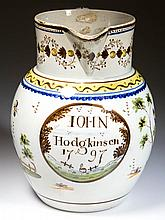ENGLISH STAFFORDSHIRE POTTERY PEARLWARE PEAFOWL DATED JUG