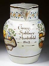 ENGLISH STAFFORDSHIRE POTTERY PEARLWARE PEAFOWL DATED LARGE JUG