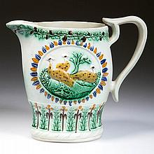 ENGLISH STAFFORDSHIRE POTTERY PRATTWARE MOLDED PEAFOWL PITCHER
