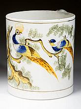 ENGLISH STAFFORDSHIRE POTTERY PEARLWARE PEAFOWL LARGE TANKARD