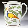 ENGLISH STAFFORDSHIRE POTTERY PEARLWARE PEAFOWL DIMINUTIVE JUG