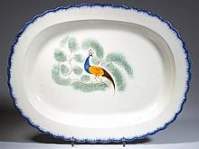 ENGLISH STAFFORDSHIRE POTTERY PEARLWARE PEAFOWL PLATTER