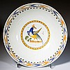 ENGLISH STAFFORDSHIRE POTTERY PRATTWARE PEARLWARE PEAFOWL BOWL