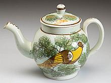 ENGLISH STAFFORDSHIRE POTTERY PEARLWARE PEAFOWL TOY TEAPOT AND COVER