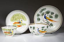 ENGLISH STAFFORDSHIRE POTTERY PEARLWARE PEAFOWL TEA BOWL AND SAUCER SETS, LOT OF TWO
