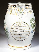 ENGLISH STAFFORDSHIRE POTTERY PEARLWARE LARGE HARVESTER'S DATED JUG