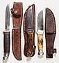 VARIOUS VINTAGE CASE CO. HUNTING KNIVES, LOT OF THREE