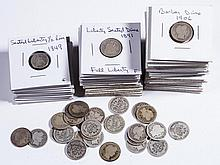 UNITED STATES SILVER FIVE-CENT AND TEN-CENT COINS, LOT OF 77
