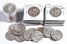UNITED STATES SILVER WALKING LIBERTY HALF-DOLLAR COINS, LOT OF 55