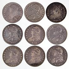 UNITED STATES SILVER CAPPED BUST HALF DOLLAR COINS, LOT OF NINE