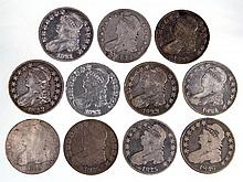 UNITED STATES SILVER CAPPED BUST HALF DOLLAR COINS, LOT OF 11