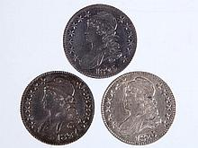 UNITED STATES SILVER CAPPED BUST HALF DOLLAR COINS, LOT OF THREE