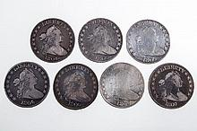 UNITED STATES SILVER DRAPED BUST HALF DOLLAR COINS, LOT OF SEVEN