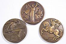 ASSORTED HISTORICAL BRONZE MEDALLIONS, LOT OF THREE