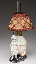 FIGURAL GIRL WITH CART MINIATURE LAMP