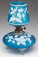 EXTREMELY RARE CAMEO FUCHSIA GLORY AND LEAF PATTERN ART GLASS MINIATURE LAMP