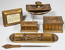 JENNINGS BROTHERS MANUFACTURING CO. GILDED METAL SIX-PIECE DESK SET
