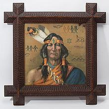 FINE AMERICAN CHIP-CARVED TRAMP ART LARGE PICTURE FRAME