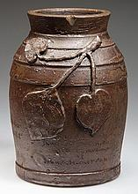 IMPORTANT JOHN A. HICKERSON, STRASBURG, SHENANDOAH VALLEY OF VIRGINIA STONEWARE COMMEMORATIVE PRESENTATION TOBACCO JAR
