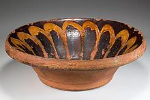NEW MARKET, SHENANDOAH VALLEY OF VIRGINIA DECORATED EARTHENWARE / REDWARE BOWL