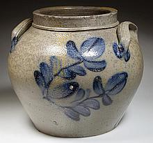 SUTER OR HEATWOLE, ROCKINGHAM CO., SHENANDOAH VALLEY OF VIRGINIA DECORATED STONEWARE SQUAT POT / PRESERVE JAR