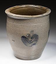 ROCKINGHAM CO., SHENANDOAH VALLEY OF VIRGINIA DECORATED STONEWARE DIMINUTIVE CROCK