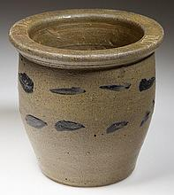 JOHN D. HEATWOLE, ROCKINGHAM CO., SHENANDOAH VALLEY OF VIRGINIA DECORATED STONEWARE DIMINUTIVE CROCK