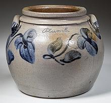 COFFMAN FAMILY, ROCKINGHAM CO., SHENANDOAH VALLEY OF VIRGINIA DECORATED STONEWARE SQUAT POT / PRESERVE JAR