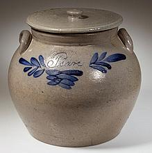 JOHN COFFMAN, ROCKINGHAM CO., SHENANDOAH VALLEY OF VIRGINIA DECORATED STONEWARE SQUAT POT / PRESERVE JAR WITH COVER