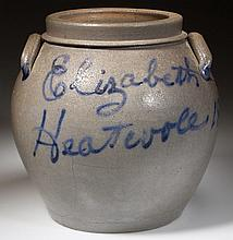 IMPORTANT JOHN D. HEATWOLE, ROCKINGHAM CO., SHENANDOAH VALLEY OF VIRGINIA DECORATED STONEWARE SQUAT POT / PRESERVE JAR - PRESENTATION TO HIS WIFE