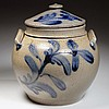 SUTER OR HEATWOLE, ROCKINGHAM CO., SHENANDOAH VALLEY OF VIRGINIA DECORATED STONEWARE SQUAT POT / SUGAR BOWL WITH COVER