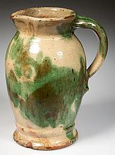 STRASBURG, SHENANDOAH VALLEY OF VIRGINIA POLYCHROME-DECORATED EARTHENWARE / REDWARE CREAM PITCHER