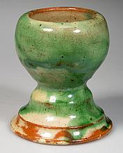 STRASBURG, SHENANDOAH VALLEY OF VIRGINIA POLYCHROME-DECORATED EARTHENWARE / REDWARE MATCH SAFE OR FLOWER STAND