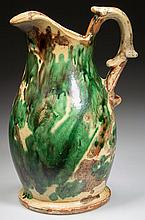 STRASBURG, SHENANDOAH VALLEY OF VIRGINIA POLYCHROME-DECORATED EARTHENWARE / REDWARE WASH PITCHER