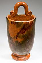 FINE STRASBURG, SHENANDOAH VALLEY OF VIRGINIA DECORATED EARTHENWARE / REDWARE WALL POCKET