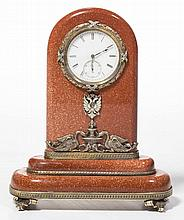 RUSSIAN GILT-SILVER, GOLDSTONE, AND JEWEL ENCRUSTED DESK CLOCK IN THE MANNER OF CARL FABERGE