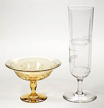 ASSORTED STEUBEN ART GLASS ARTICLES, LOT OF TWO