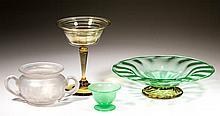 STEUBEN ART GLASS ARTICLES, LOT OF FOUR