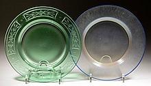 STEUBEN ART GLASS PLATES, LOT OF TWO