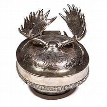 TIFFANY STERLING SILVER MOOSE ANTLER INK WELL