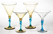 STEUBEN TWISTED STEM DRINKING ARTICLES, LOT OF FOUR