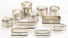 ASSORTED STERLING SILVER NAPKIN RINGS, LOT OF TEN