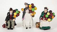 ENGLISH ROYAL DOULTON BALLOON SELLER CERAMIC FIGURES, LOT OF THREE