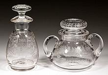 ASSORTED CUT AND ENGRAVED CONDIMENT ARTICLES, LOT OF TWO