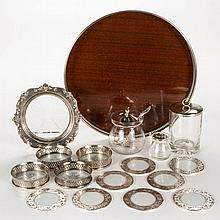 ASSORTED STERLING SILVER AND GLASS TABLE ARTICLES, LOT OF 12