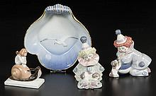 EUROPEAN LLADRO, ROSENTHAL, AND COPENHAGEN PORCELAIN FIGURES AND DISH, LOT OF FOUR